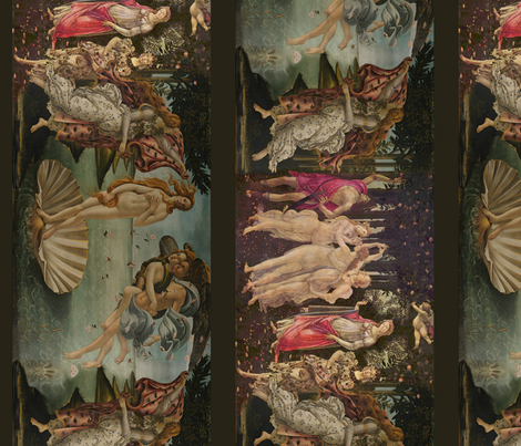 Botticelli Birth of Venus and Primavera With Borders fabric by peacoquettedesigns on Spoonflower - custom fabric