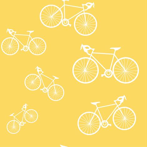 Silhouette Bikes: Yellow fabric by frontdoor on Spoonflower - custom fabric