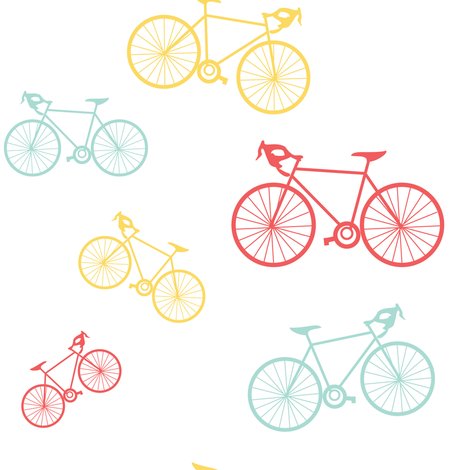 Silhouette Bikes: Multicolored fabric by frontdoor on Spoonflower - custom fabric
