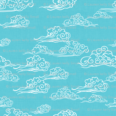 Swirling Clouds, Turquoise // bright blue sky white clouds bold cloudy sky cute fabric for kids