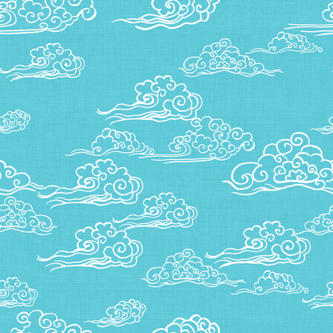 Swirling Clouds, Turquoise // bright blue sky white clouds bold cloudy sky cute fabric for kids fabric by thistleandfox on Spoonflower - custom fabric