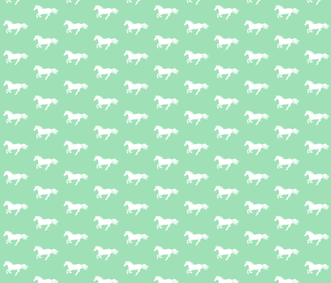 My White Pony in Mint fabric by thistleandfox on Spoonflower - custom fabric
