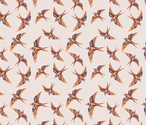 Swooping Swallow in Copper & Peach fabric by thistleandfox on Spoonflower - custom fabric