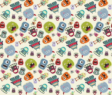 Funky Monsters and Robots fabric by sterikal on Spoonflower - custom fabric