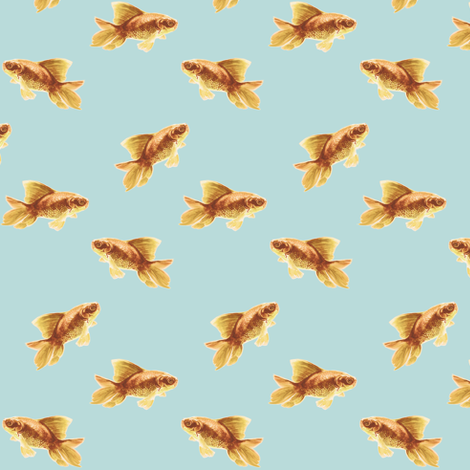 Golden Goldfish on Blue fabric by thistleandfox on Spoonflower - custom fabric