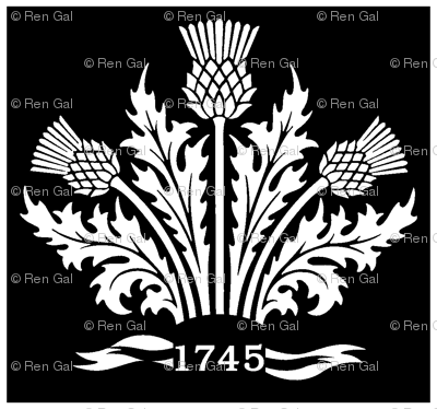 Jacobite Scottish Thistle White On Black Bg Fabric