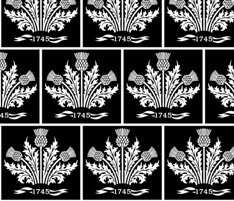 Jacobite Scottish Thistle, white on black bg fabric by rengal on Spoonflower - custom fabric