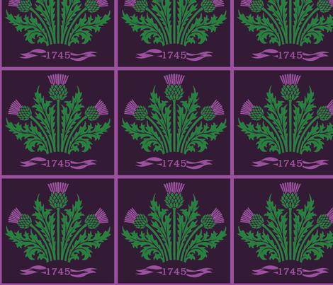 Jacobite Scottish Thistle, dark purple bg fabric by rengal on Spoonflower - custom fabric
