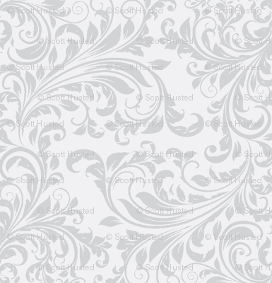 Vines Damask white