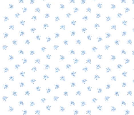 Blue Hampton Rose Petite in Pale Blueberry Blue fabric by lilyoake on Spoonflower - custom fabric