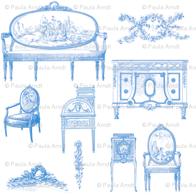 Louis XV Style French in Blueberry Blue