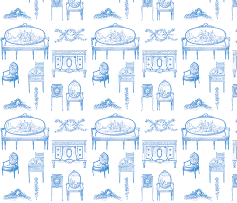 Louis XV Style French in Blueberry Blue fabric by lilyoake on Spoonflower - custom fabric