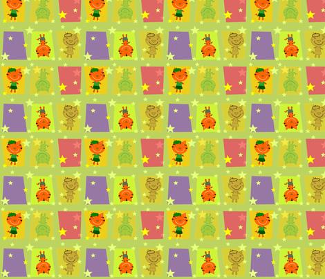 Bonjour Mod Tigers Olive fabric by heathermann on Spoonflower - custom fabric