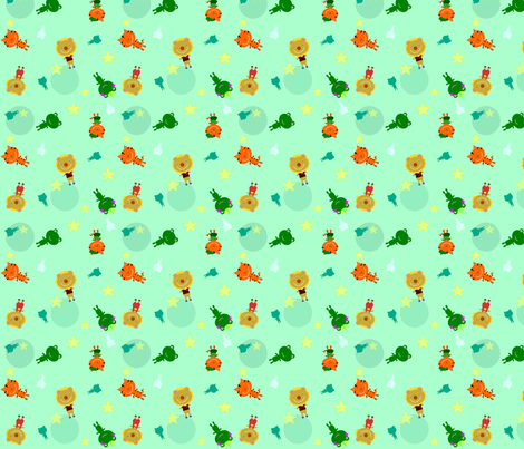 Bonjour Animal Friends Green fabric by heathermann on Spoonflower - custom fabric