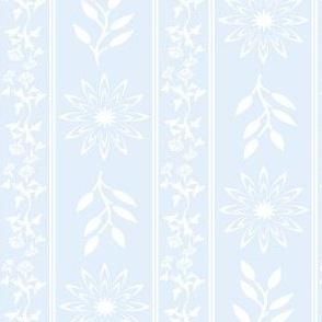 Floral Stripes in Powder Blue
