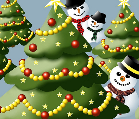Snowmen playing Hide and Seek.