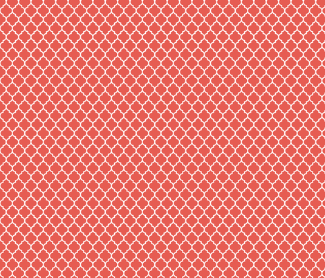 moroccan quatrefoil lattice in coral fabric by spacefem on Spoonflower - custom fabric