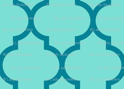 moroccan quatrefoil lattice in sky blue and teal