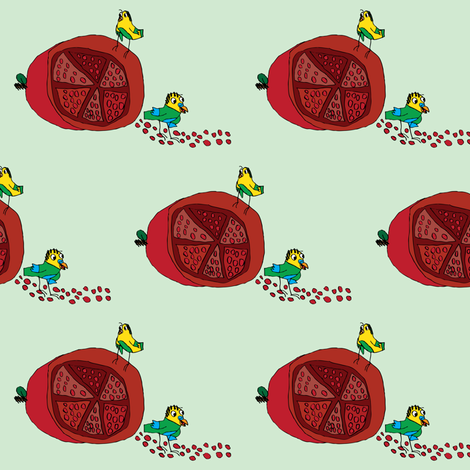 Pomegranates and Parakeets fabric by iliketodraw on Spoonflower - custom fabric