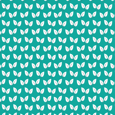 Leaves (Teal) fabric by mondaland on Spoonflower - custom fabric