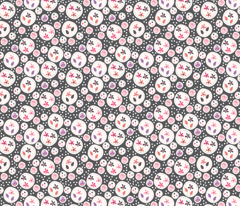 Flora (Grey/Pink) fabric by mondaland on Spoonflower - custom fabric