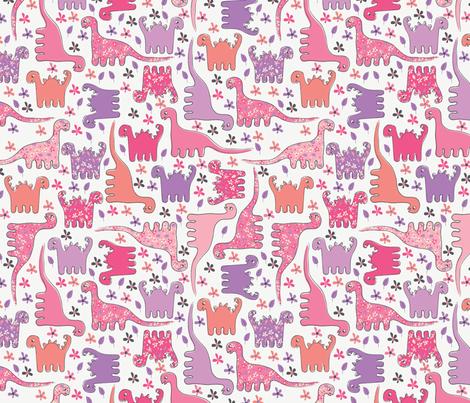 Dino (Pink) fabric by mondaland on Spoonflower - custom fabric