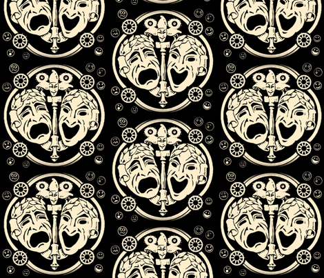 Comedy/Tragedy  fabric by whimzwhirled on Spoonflower - custom fabric