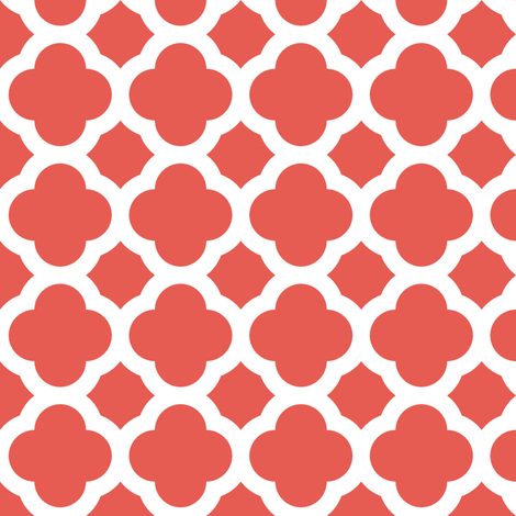 coral quatrefoil fabric by spacefem on Spoonflower - custom fabric