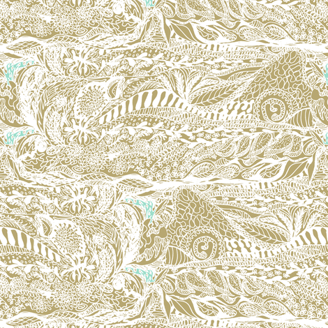 Gold in the Hills - white on gold. fabric by rhondadesigns on Spoonflower - custom fabric