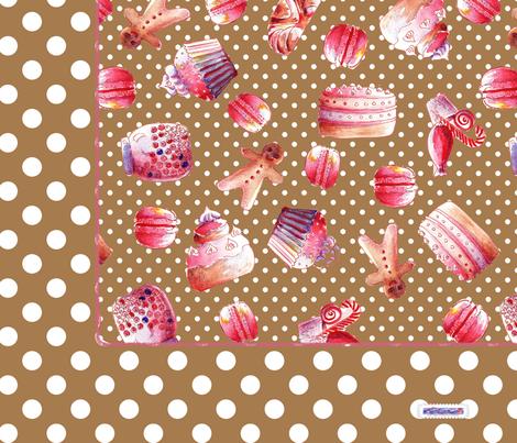 foulard_gourmandise_brun fabric by nadja_petremand on Spoonflower - custom fabric