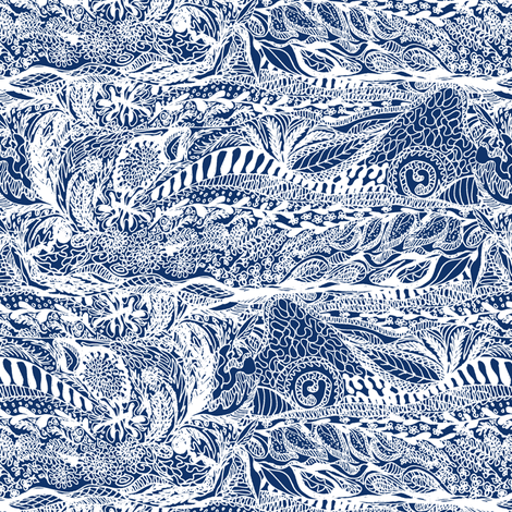 Organic Landscape - White on Indigo. fabric by rhondadesigns on Spoonflower - custom fabric