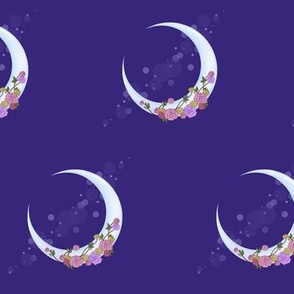 Purple Crescent Moon with Roses