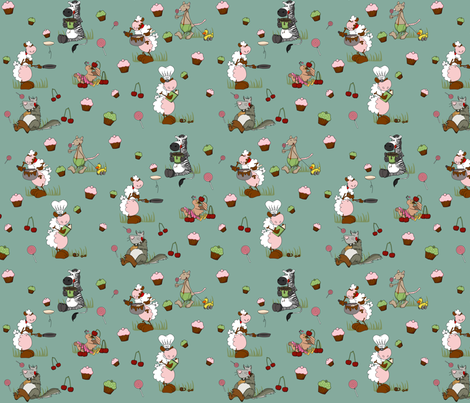 gourmand in mint fabric by kallou on Spoonflower - custom fabric