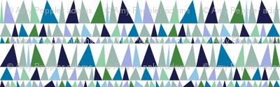 Christmas Tree Farm* (Blues & Greens) || triangles stripes geometric abstract trees holiday