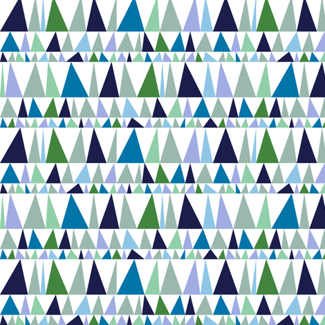 Christmas Tree Farm* (Blues & Greens) || triangles stripes geometric abstract trees holiday fabric by pennycandy on Spoonflower - custom fabric