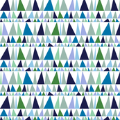 Christmas Tree Farm* (Blues & Greens) || triangles stripes geometric abstract trees holiday