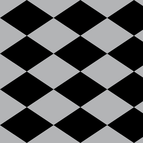 Large Harlequin Check in Dark Gray fabric by charmcitycurios on Spoonflower - custom fabric