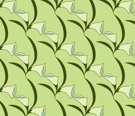 Deco Calla Lily - green fabric by holly_helgeson on Spoonflower - custom fabric