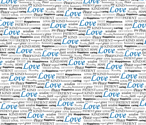 All U Need is LOVE in blue fabric by pearl&phire on Spoonflower - custom fabric
