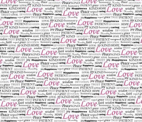 All U Need is LOVE_pink fabric by fridabarlow on Spoonflower - custom fabric