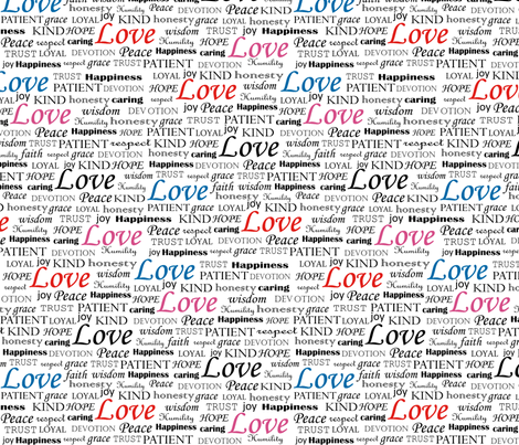 All U Need is LOVE_tricolor fabric by pearl&phire on Spoonflower - custom fabric