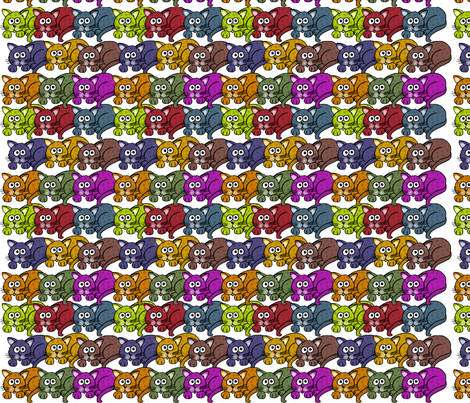 Cats, cats, and more cats in color fabric by graphicdoodles on Spoonflower - custom fabric