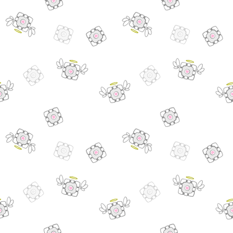 Small Companion Cube Angel fabric by lovelylatte on Spoonflower - custom fabric