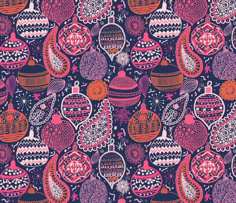 Bohemian Christmas fabric by demigoutte on Spoonflower - custom fabric