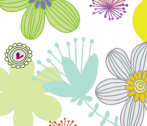 love garden rainbow fabric by tailorjane on Spoonflower - custom fabric