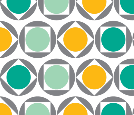 sunny dandilion circles teal fabric by tailorjane on Spoonflower - custom fabric