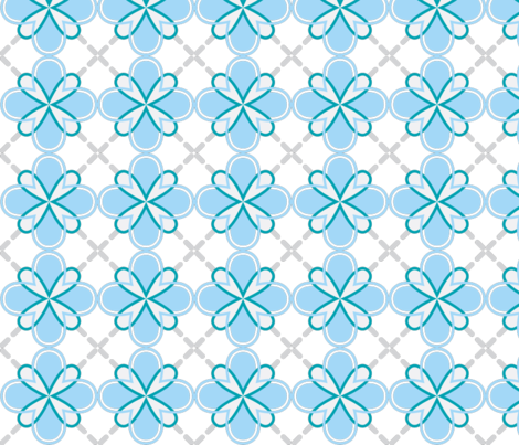 sunny dandilion geometric blue fabric by tailorjane on Spoonflower - custom fabric