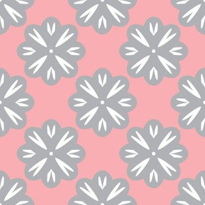 Gray Flowers on Pink