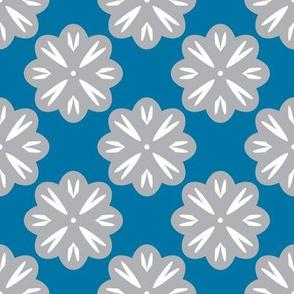 Gray Flowers on Blue