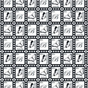 Butterfly Stamps on White